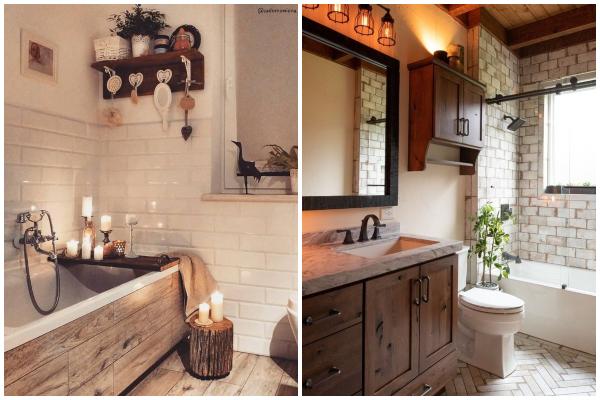 Šarmantan dekor malog kupatila u farmhouse stilu