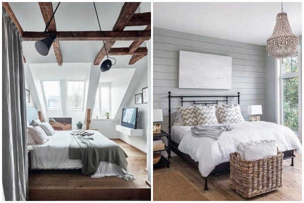 Dekor spavaće sobe u modernom seoskom stilu