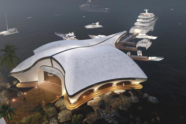 Luksuzni jaht klub u obliku džinovske raže pozira graciozno nad okeanom